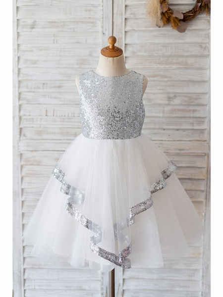 Ball Gown Knee Length Wedding / Birthday Flower Girl Dresses - Tulle / Sequined Sleeveless Jewel Neck With Bow(S)_1