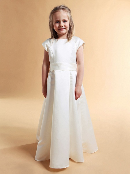 Princess / A-Line Floor Length First Communion / Wedding Party Satin Short Sleeve Jewel Neck With Sash / Ribbon / Bow(S) / Spring / Summer / Fall / Winter_2