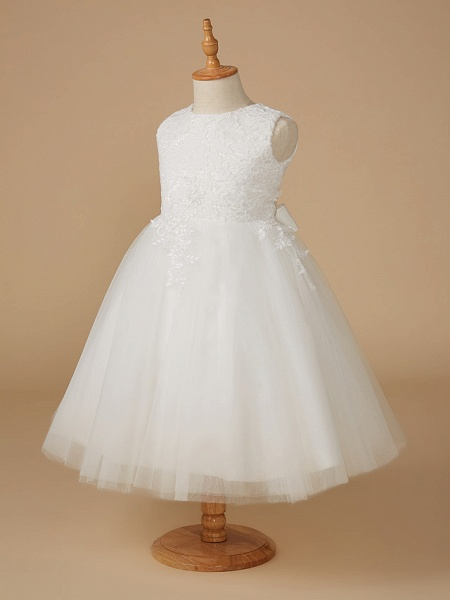 Ball Gown Knee Length Wedding / First Communion Flower Girl Dresses - Lace / Tulle Sleeveless Jewel Neck With Appliques_3
