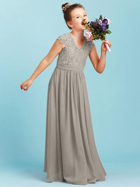 Princess / A-Line V Neck Floor Length Chiffon / Lace Junior Bridesmaid Dress With Sash / Ribbon / Pleats / Wedding Party_10