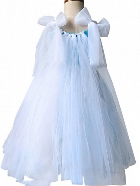 Princess Maxi Pageant Flower Girl Dresses - Polyester Sleeveless Jewel Neck With Bow(S) / Color Block_5