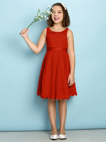 A-Line Scoop Neck Knee Length All Over Floral Lace Junior Bridesmaid Dress With Lace / Natural / Mini Me_13