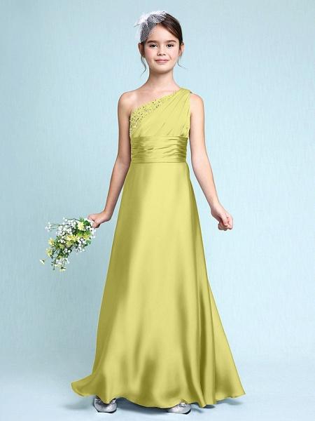 Sheath / Column One Shoulder Floor Length Chiffon Satin Junior Bridesmaid Dress With Ruched / Side Draping / Natural_19