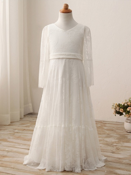 Sheath / Column Maxi Wedding / Birthday / Holiday Flower Girl Dresses - Lace / Cotton 3/4 Length Sleeve V Neck With Lace_2