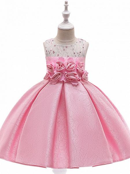 A-Line Knee Length Wedding / Birthday / Pageant Flower Girl Dresses - Cotton Blend Sleeveless Jewel Neck With Petal / Sash / Ribbon / Trim_2