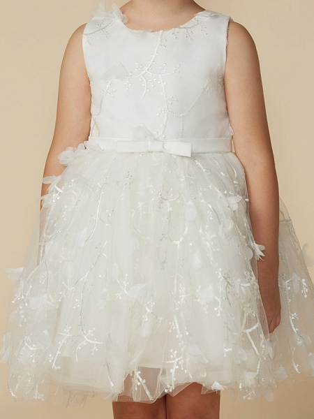 Princess Short Length Wedding / First Communion Lace Sleeveless Jewel Neck With Belt / Bow(S)_4