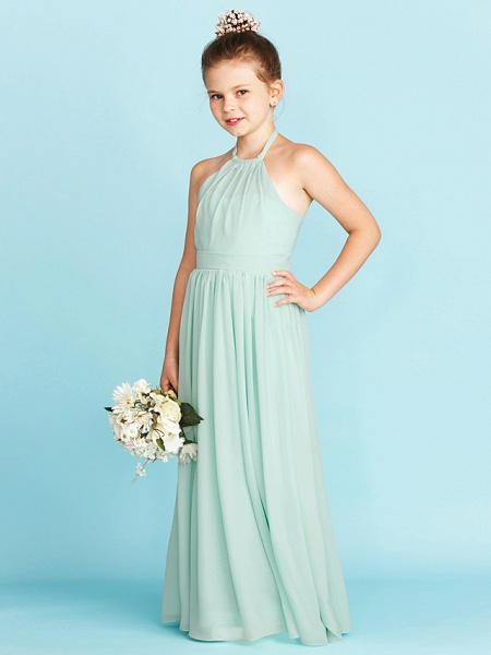 Princess / A-Line Halter Neck Floor Length Chiffon Junior Bridesmaid Dress With Sash / Ribbon / Pleats / Wedding Party / Open Back_3