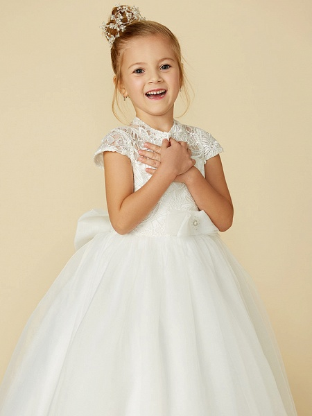 Ball Gown Floor Length Wedding / First Communion Flower Girl Dresses - Lace / Tulle Short Sleeve High Neck With Lace / Sash / Ribbon / Bow(S)_9