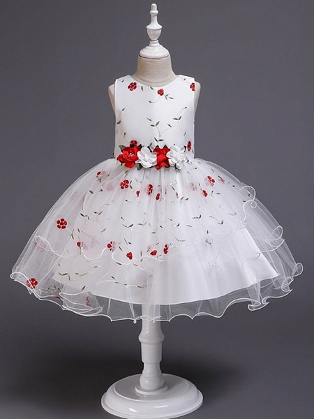 Princess / Ball Gown Knee Length Wedding / Party Flower Girl Dresses - Satin / Tulle Sleeveless Jewel Neck With Bow(S) / Flower_4