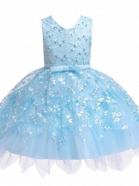 Princess / Ball Gown Mini Wedding / Party Flower Girl Dresses - Tulle Sleeveless V Neck With Sash / Ribbon / Bow(S) / Appliques_7