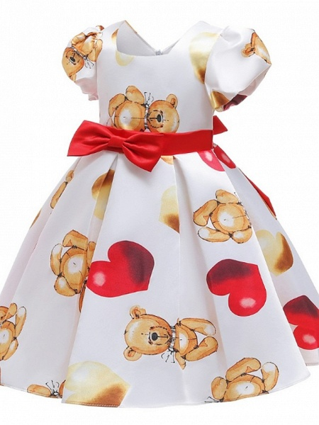 Ball Gown Knee Length Pageant Flower Girl Dresses - Polyester Short Sleeve Jewel Neck With Bow(S)_4