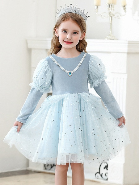 Princess / Ball Gown Knee Length Wedding / Party Flower Girl Dresses - Tulle Long Sleeve Jewel Neck With Crystals / Paillette_1