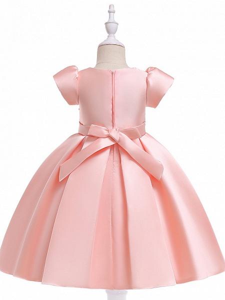 A-Line Knee Length Wedding / Birthday Cotton Blend Short Sleeve Jewel Neck With Petal / Sash / Ribbon / Pearls_6