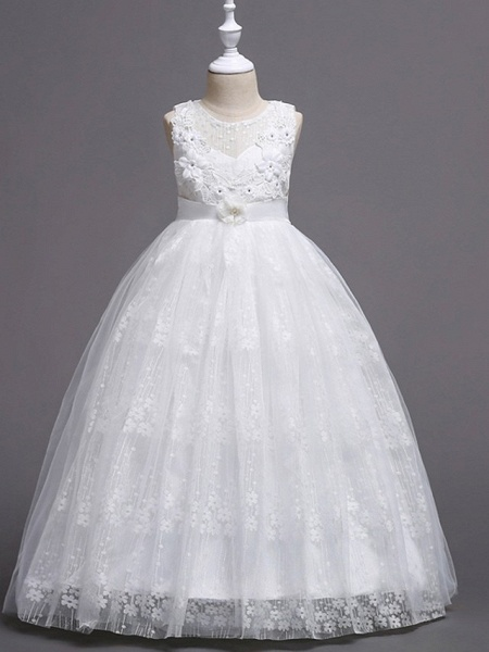 Princess / Ball Gown Floor Length Wedding / Party Flower Girl Dresses - Tulle Sleeveless Jewel Neck With Bow(S) / Flower_1