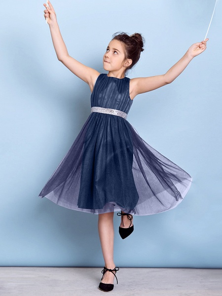 A-Line Jewel Neck Knee Length Tulle Junior Bridesmaid Dress With Sash / Ribbon / Sequin / Draping / Natural_9