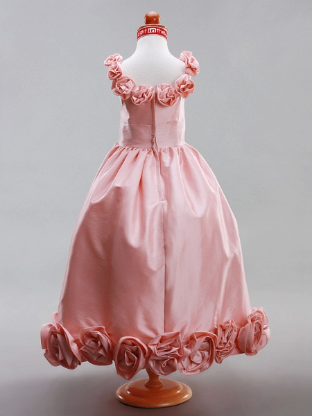 A-Line / Princess Floor Length Flower Girl Dress - Taffeta Sleeveless Scoop Neck With Draping / Flower By Lan Ting Bride? / Spring / Summer / Fall / Winter / Wedding Party_4