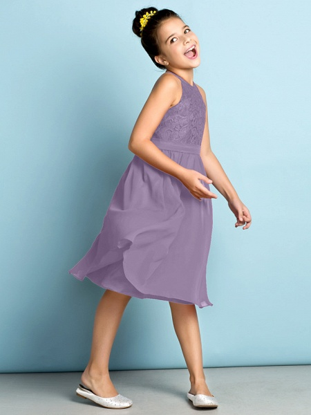 A-Line Jewel Neck Knee Length Chiffon / Lace Junior Bridesmaid Dress With Lace / Natural / Mini Me_29