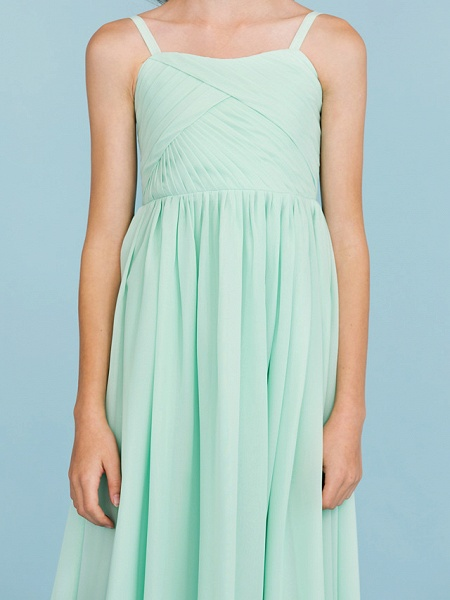 Princess / A-Line Spaghetti Strap Floor Length Chiffon Junior Bridesmaid Dress With Criss Cross / Pleats / Wedding Party / Open Back_8