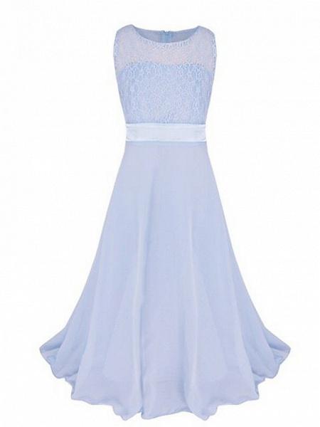 A-Line Floor Length Wedding / Party Flower Girl Dresses - Chiffon / Lace Sleeveless Jewel Neck With Sash / Ribbon_8