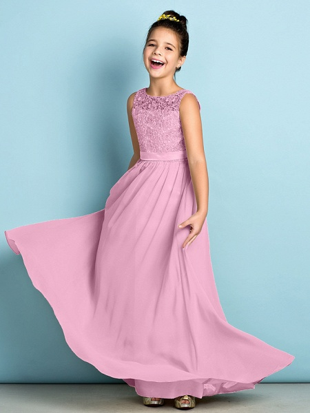 A-Line Scoop Neck Floor Length Chiffon / Lace Junior Bridesmaid Dress With Lace / Natural / Mini Me_12