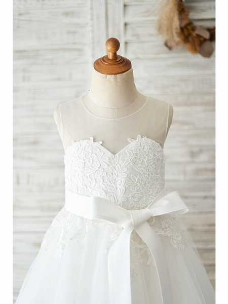 Ball Gown Knee Length Wedding / Birthday Flower Girl Dresses - Lace / Tulle Sleeveless Jewel Neck With Lace / Belt_3