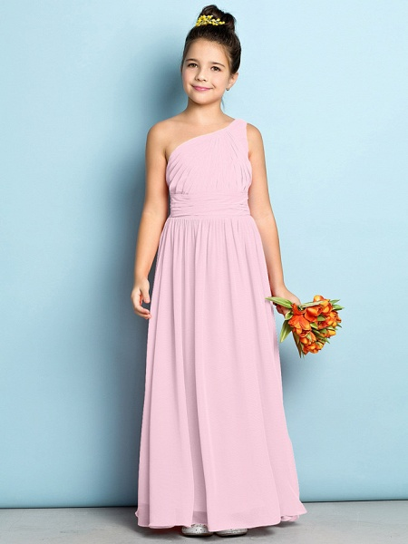 A-Line One Shoulder Ankle Length Chiffon Junior Bridesmaid Dress With Side Draping / Natural / Mini Me_9