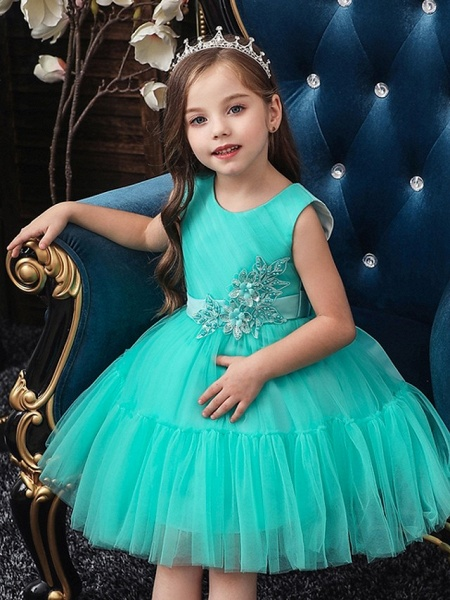 Princess / Ball Gown Knee Length Wedding / Party Flower Girl Dresses - Tulle Sleeveless Jewel Neck With Sash / Ribbon / Bow(S) / Appliques_3
