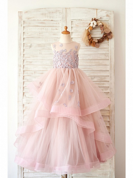Ball Gown Floor Length Wedding / Birthday Flower Girl Dresses - Lace / Tulle Sleeveless Jewel Neck With Lace_1