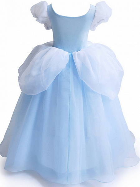 Ball Gown Floor Length Party / Formal Evening Flower Girl Dresses - Polyester Short Sleeve Jewel Neck With Color Block_2