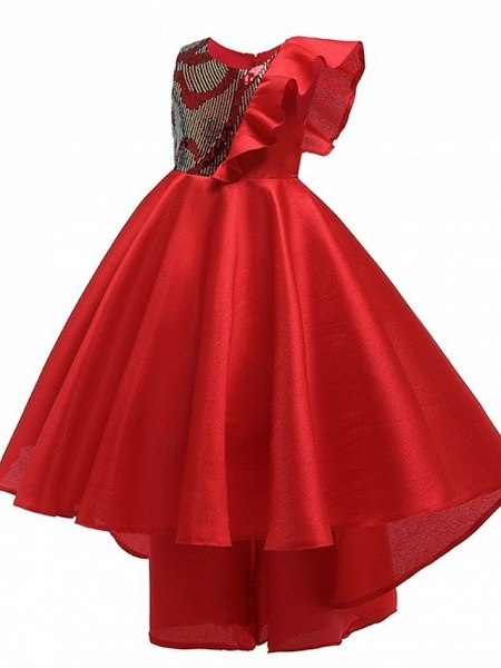 A-Line Round Asymmetrical Cotton Junior Bridesmaid Dress With Bow(S) / Ruffles_2