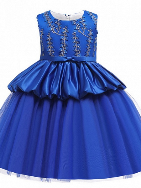 Ball Gown Ankle Length Pageant Flower Girl Dresses - Polyester Sleeveless Jewel Neck With Beading / Appliques_5