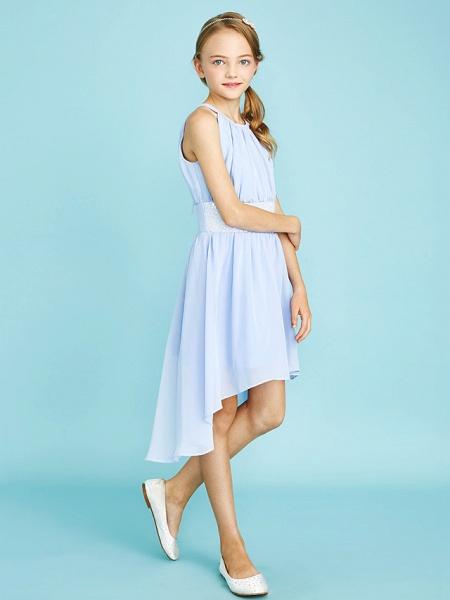 Sheath / Column Jewel Neck Asymmetrical Chiffon Junior Bridesmaid Dress With Sequin / Natural_3