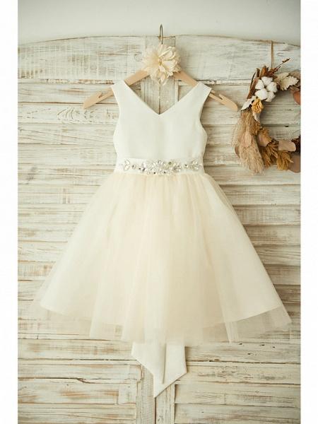 Ball Gown Knee Length Wedding / Birthday / Pageant Flower Girl Dresses - Satin / Tulle Sleeveless V Neck With Bows / Belt / Beading_1