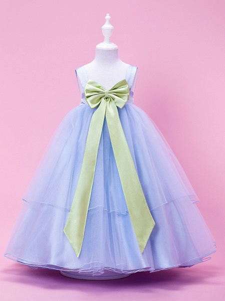 Princess / Ball Gown / A-Line Tea Length Wedding Party Tulle / Stretch Satin Sleeveless Straps With Bow(S) / Draping / Spring / Summer / Fall / Winter_1