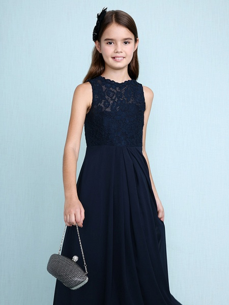 Sheath / Column Scoop Neck Floor Length Chiffon / Lace Junior Bridesmaid Dress With Lace / Natural_7