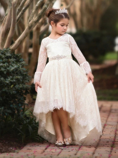Ball Gown Asymmetrical Wedding Flower Girl Dresses - Lace Long Sleeve V Neck With Bow(S) / Appliques / Solid_2