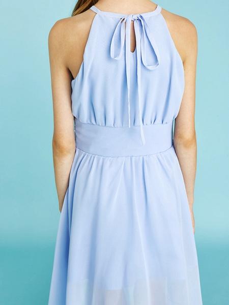 Sheath / Column Jewel Neck Asymmetrical Chiffon Junior Bridesmaid Dress With Sequin / Natural_11
