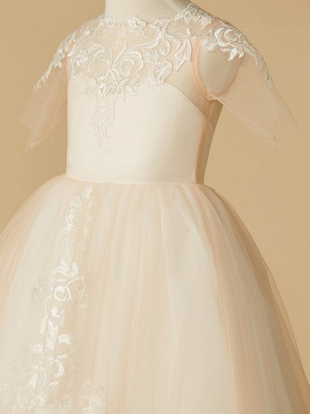 A-Line Sweep / Brush Train Wedding / First Communion / Pageant Flower Girl Dresses - Tulle Half Sleeve Jewel Neck With Appliques_4
