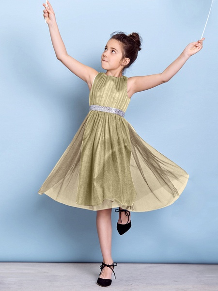 A-Line Jewel Neck Knee Length Tulle Junior Bridesmaid Dress With Sash / Ribbon / Sequin / Draping / Natural_14
