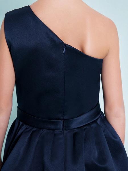 A-Line One Shoulder Knee Length Satin Junior Bridesmaid Dress With Sash / Ribbon / Pleats / Natural_8