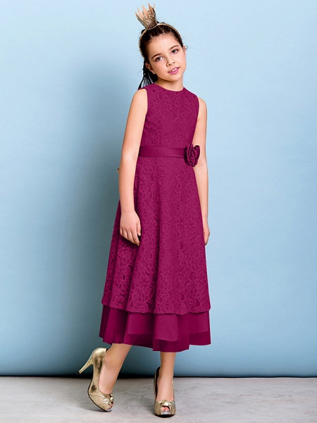 A-Line Jewel Neck Tea Length All Over Floral Lace Junior Bridesmaid Dress With Sash / Ribbon / Bow(S) / Flower / Natural_41