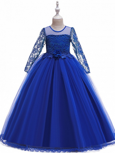 Princess Long Length Party / Pageant Flower Girl Dresses - Poly / Polyester / Cotton / Lace Long Sleeve Jewel Neck With Butterfly Design / Sash / Ribbon / Beading_1