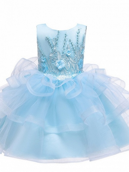 Princess / Ball Gown Knee Length Wedding / Party Flower Girl Dresses - Tulle Sleeveless Jewel Neck With Bow(S) / Appliques / Cascading Ruffles_8