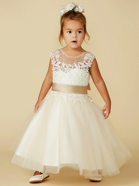 Ball Gown Ankle Length / Knee Length Wedding / Party / Pageant Flower Girl Dresses - Lace / Tulle Sleeveless Jewel Neck With Belt / Buttons / Beading_4