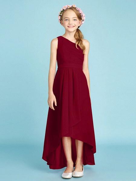 A-Line One Shoulder Asymmetrical Chiffon Junior Bridesmaid Dress With Sash / Ribbon / Bow(S) / Side Draping / Natural_18