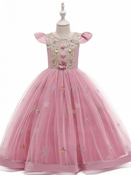 A-Line Ankle Length Wedding / Party / Pageant Flower Girl Dresses - Tulle / Matte Satin / Poly&Cotton Blend Short Sleeve Jewel Neck With Pattern / Print / Solid_10
