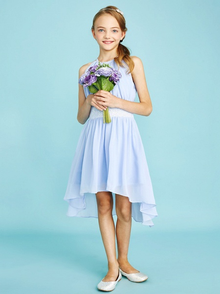 Sheath / Column Jewel Neck Asymmetrical Chiffon Junior Bridesmaid Dress With Sequin / Natural_4