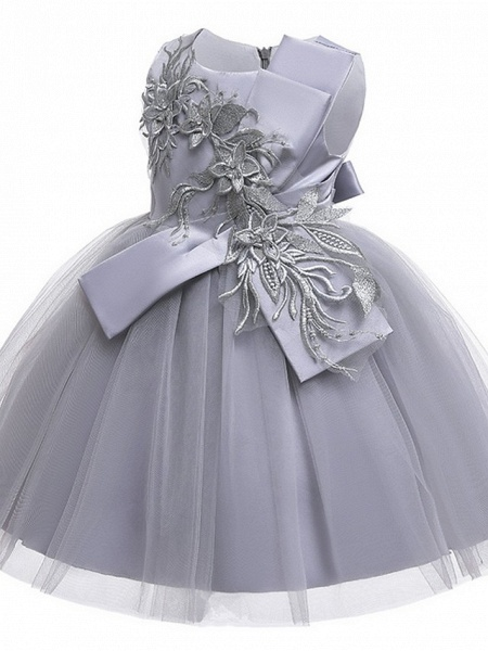 Princess / Ball Gown Knee Length Wedding / Party Flower Girl Dresses - Satin / Tulle Sleeveless Jewel Neck With Bow(S) / Appliques_8