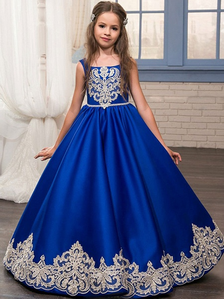Princess / Ball Gown Floor Length Wedding / Party Flower Girl Dresses - Lace / Satin Sleeveless Jewel Neck With Bow(S) / Appliques_1