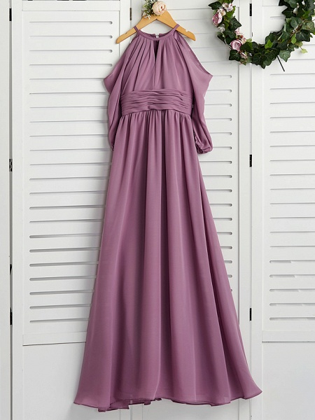 A-Line Crew Neck Floor Length Chiffon Junior Bridesmaid Dress With Ruching / Wedding Party_4